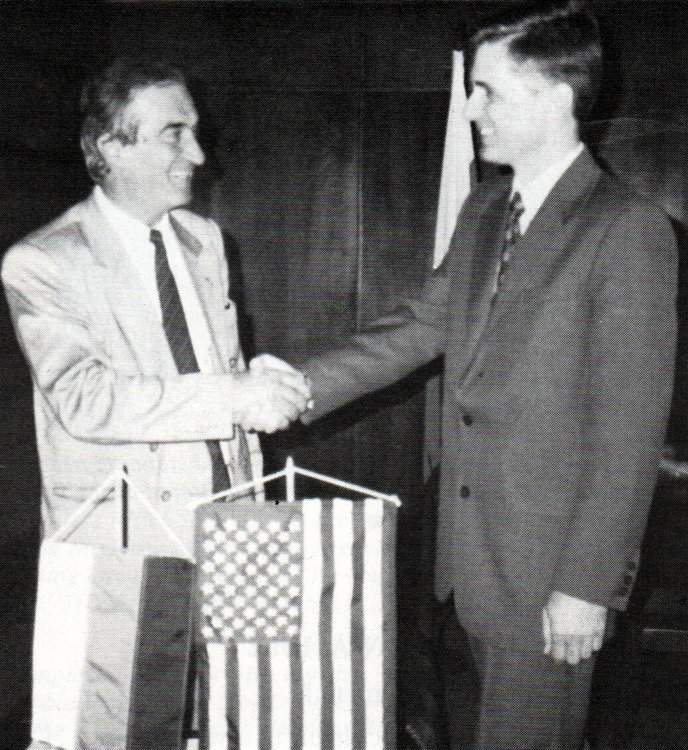 Ivan Nenov mayor of Gabrovo Bulgaria and Ron Houston 1993