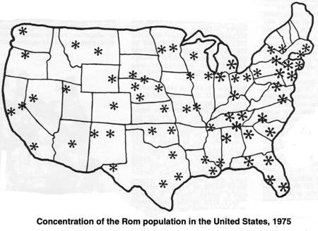 Distribution of Rom population in America 1975